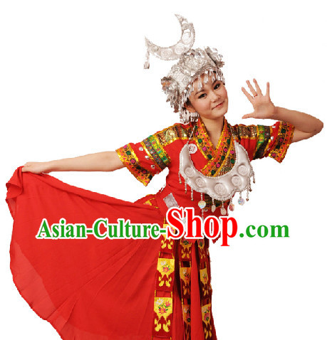 Traditional Miao Nationality Clothes and Hat for Women