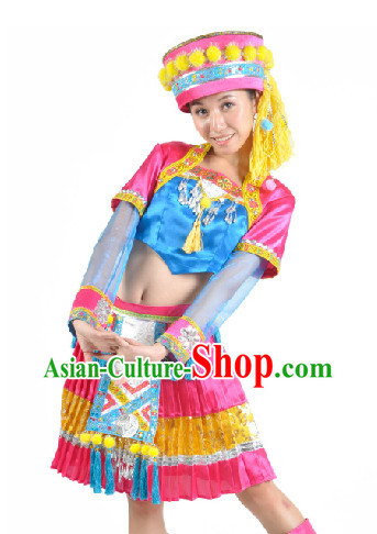 Chinese Hani Ethnic Dress and Hat for Women