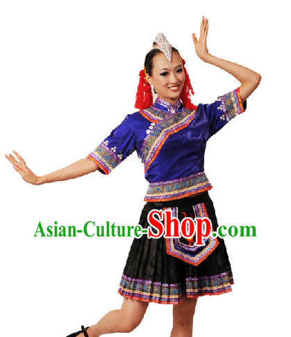 Chinese Yi Nationality Dancing Dress and Headdress for Women