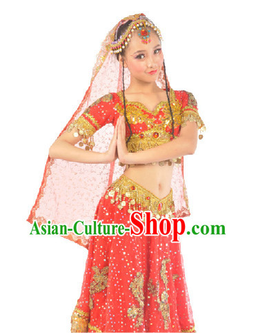 Indian Red Classical Dance Dress for Women