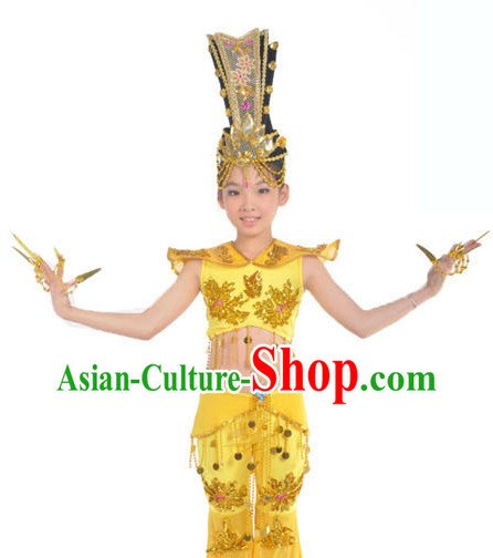 Thousands of Hands Kwan-yin Feitian Flying Fairy Dance Costumes and Headwear for Children