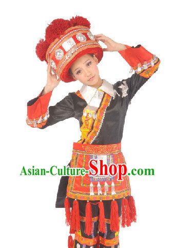Chinese Deang Nationality Ethnic Clothes and Hat for Girls