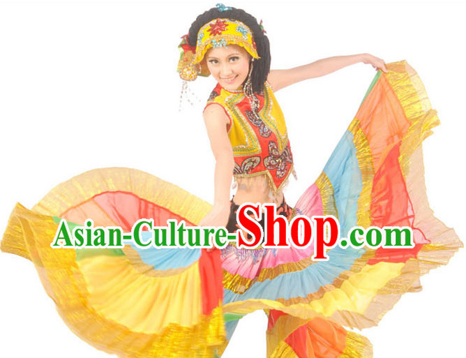 Professional Stage Performance Yi Dance Costumes and Headdress for Women