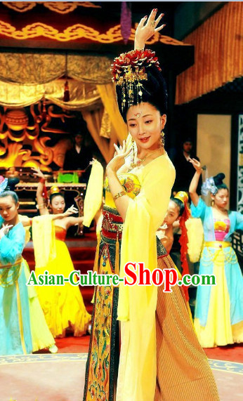 Ancient Chinese Empress Dance Costumes and Hair Clasps Complete Set for Women