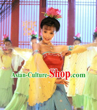 Tang Dynasty Palace Dancing Costumes and Headdress for Women