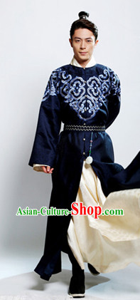 Traditional Chinese Deep Blue Hanfu Clothes for Men