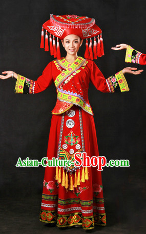Chinese Zhuang Ethnic Minority Wedding Dress and Hat Complete Set for Brides