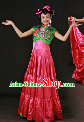 Chinese Yi Nationality Clothing and Headdress Complete Set