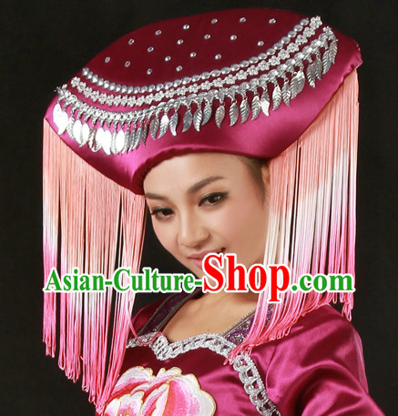 Chinese Zhuang Ethnic Dance Costumes and Headdress for Women
