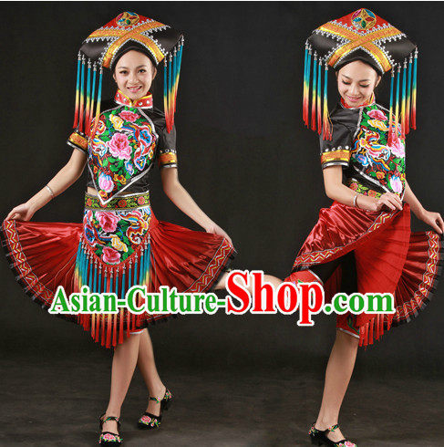 CHINA Zhuang Clothes and Hat Complete Set
