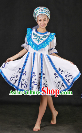 White Russia People Dance Costumes and Hat Complete Set
