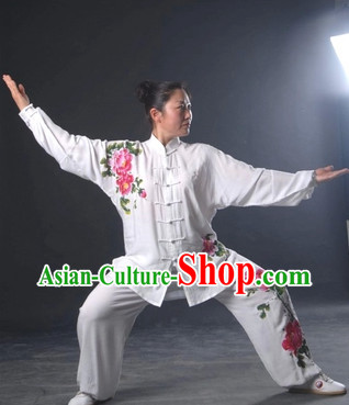 Top White Hands Painted Peony Martial Arts Tai Chi Silk Clothes