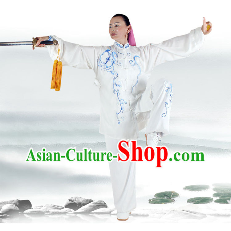 Traditional White Butterfly Embroidery Kung Fu Suit