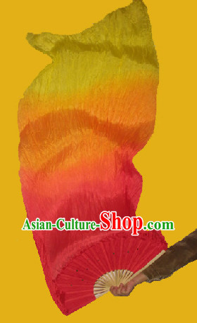 Red to Yellow Colour Transition Chinese Hand Fan
