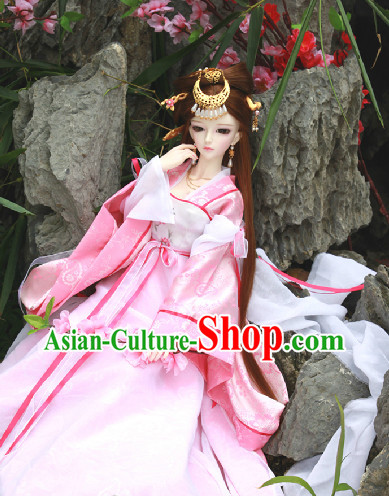 Ancient Chinese Pink Hanfu SD Clothing Complete Set