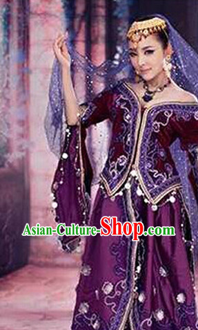 Xinjiang Purple Clothes and Hat Complete Set for Women