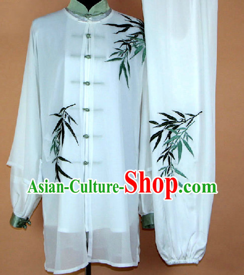 Embroidered Bamboo Kung Fu Uniform and Mantle Complete Set