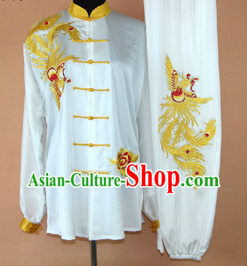 Embroidered Dragon Silk Kung Fu Uniform Complete Set