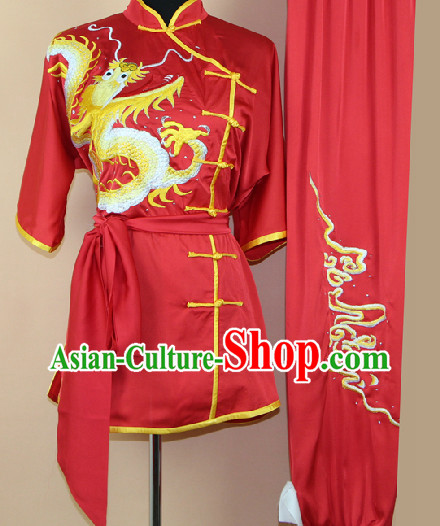 Silk Martial Arts Embroidered Dragon Uniforms Complete Set