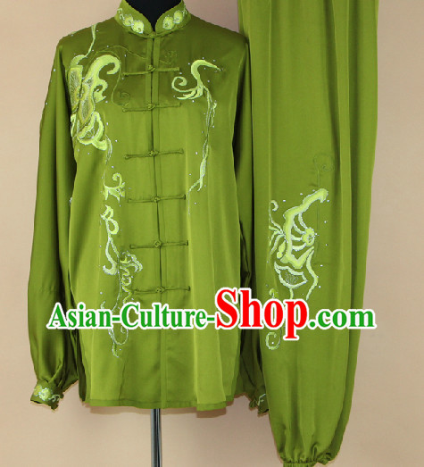 Traditional Silk Embroidered Flower Butterfly Martial Arts Competition Uniform Complete Set