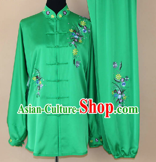 Traditional Silk Green Kung Fu Competition Uniforms Complete Set