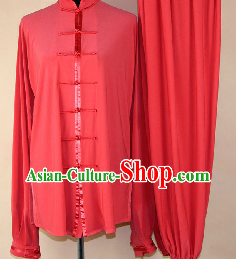 Traditional Red Silk Martial Arts Competition Uniform for Men or Women