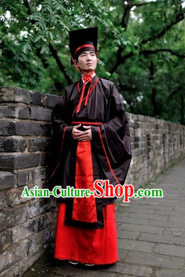 Ancient Chinese Academic Robe and Hat Complete Set for Men