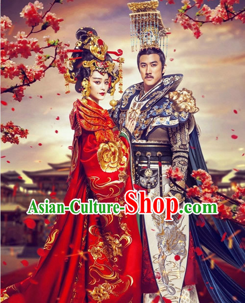 Tang Dynasty Imperial Female Emperor Wu Zetian Clothing and Headwear Complete Set
