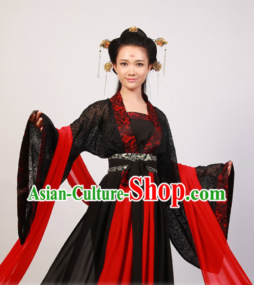 Black Wide Sleeve Hanfu Gown for Wome
