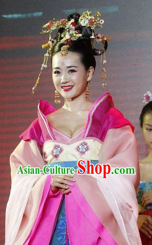 Chinese Tang Dynasty Princess Clothes and Hair Accessories Complete Set