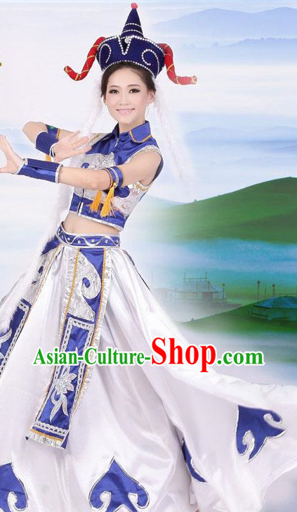 Chinese Mongolian Clothing and Hat for Women