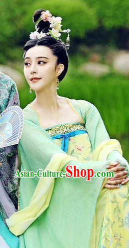Chinese Tang Dynasty Clothing Sexy Dresses and Hair Jewelry Complete Set
