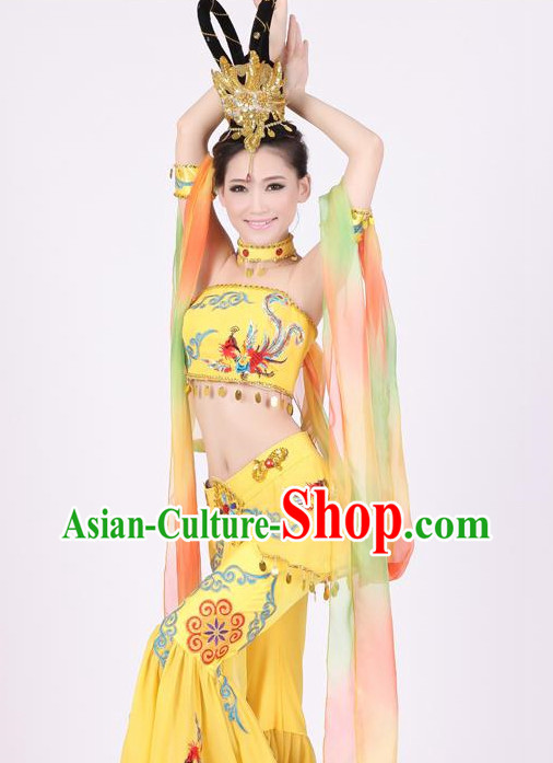 Chinese Flying Apsaras Dance Cstumes and Hair Jewelry Complete Set