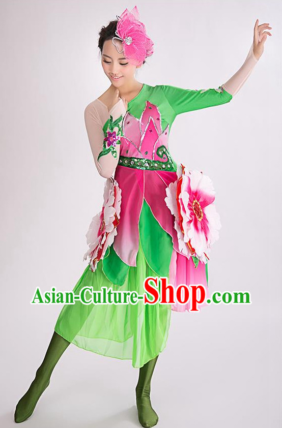 Chinese Professional Stage Flower Dancing Costume and Headwear Complete Set