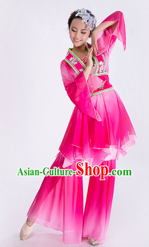 Chinese Classical Dance Costume and Hair Accessories Complete Set