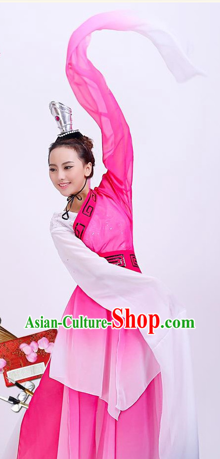 Chinese Long Sleeves Dancing Costumes and Headpieces