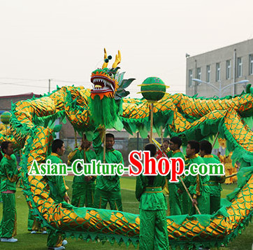 Green and Gold Chinese Dragon Mask Costumes Complete Set