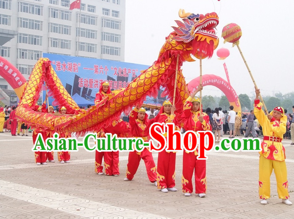 Red and Gold Chinese Dragon Costumes Complete Set for 10 Children