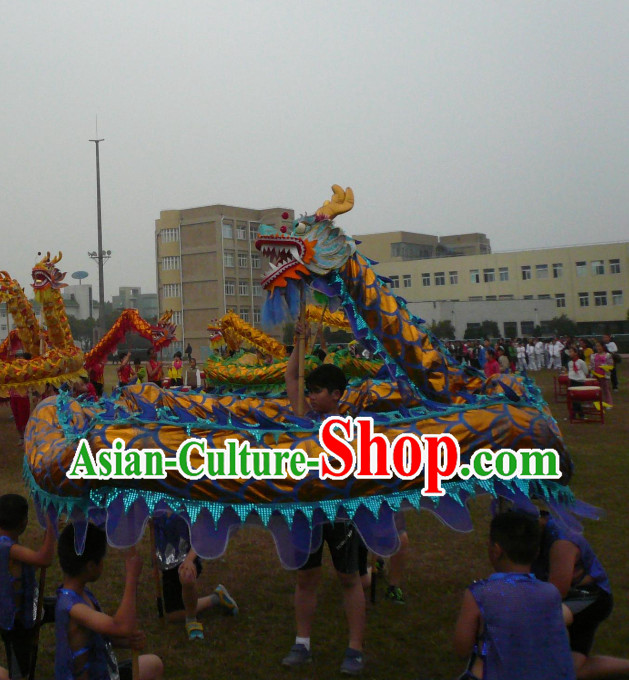 Top Competition and Parade Blue Dragon Dancing Costume Complete Set