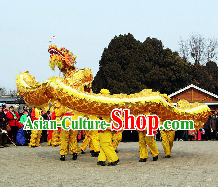 Chinese New Year Gold Dragon Dance Costumes Complete Set