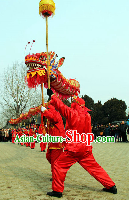 14 Meters Brand New Gold Chinese Dragon Dance Costume Complete Set for 8 People
