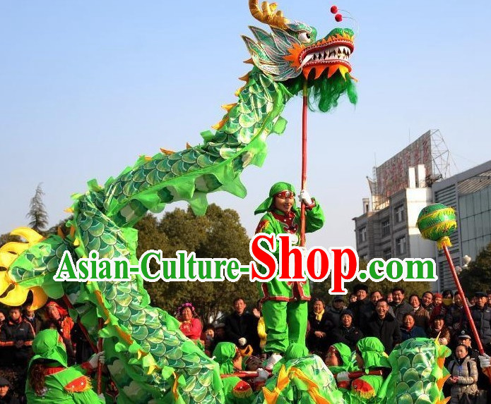 10 Meters Brand New Green Chinese Dragon Dance Costume Complete Set for 6 People