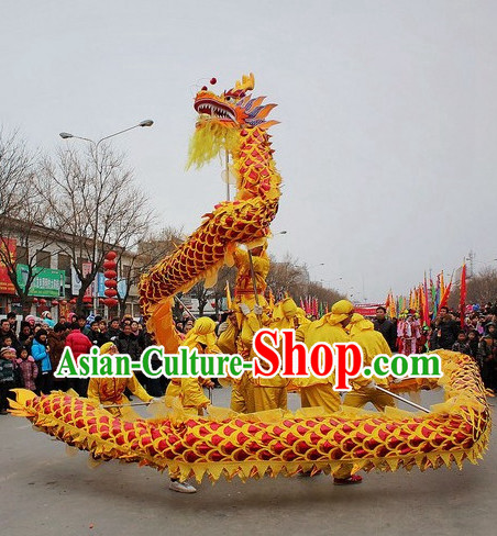 Eruptive Yellow and Red Chinese Spring Festival Dragon Dance Costumes Complete Set