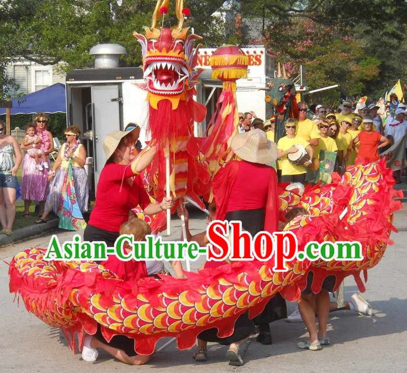 10 Meters Chinese Spring Festival Red Dragon Dance Costume for 6 People