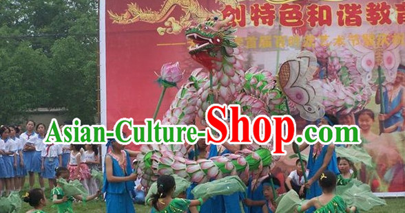 Handmade Lotus Dragon Dance Equipment for 8 Elementary School Students