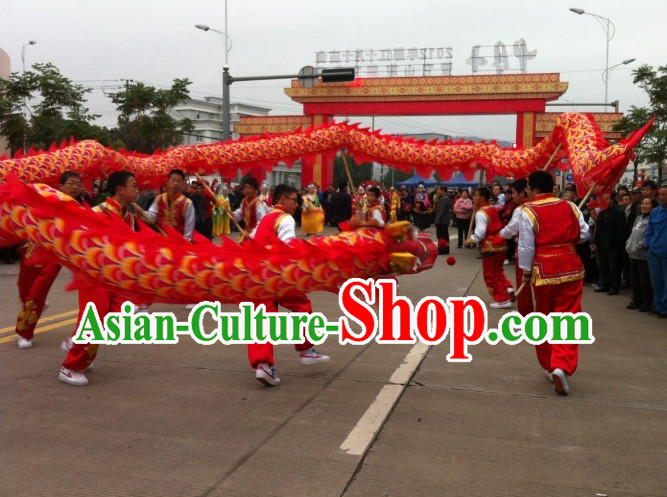 Traditional Red Dragon Dance Costume Complete Set for High School