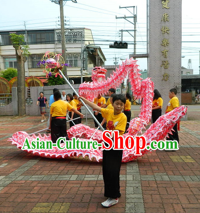 18 Meters China New Year Celebration and Competition Red Luminous Dragon Dance Costume for Students