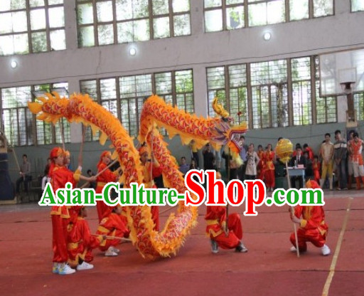 12 Meters Chinese Yellow Red Dragon Dance Equipment for 8 Kids
