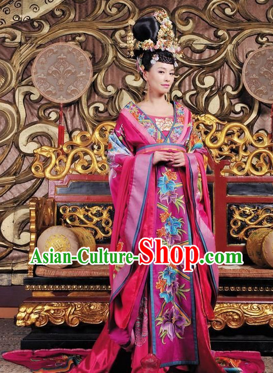 Ancient Chinese Empress Costumes and Hair Accessories Complete Set
