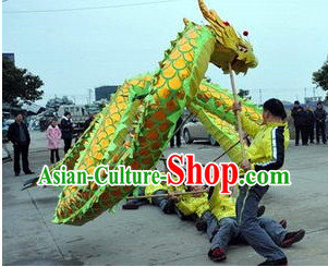Green Gold Dragon Dance Equipments Complete Set